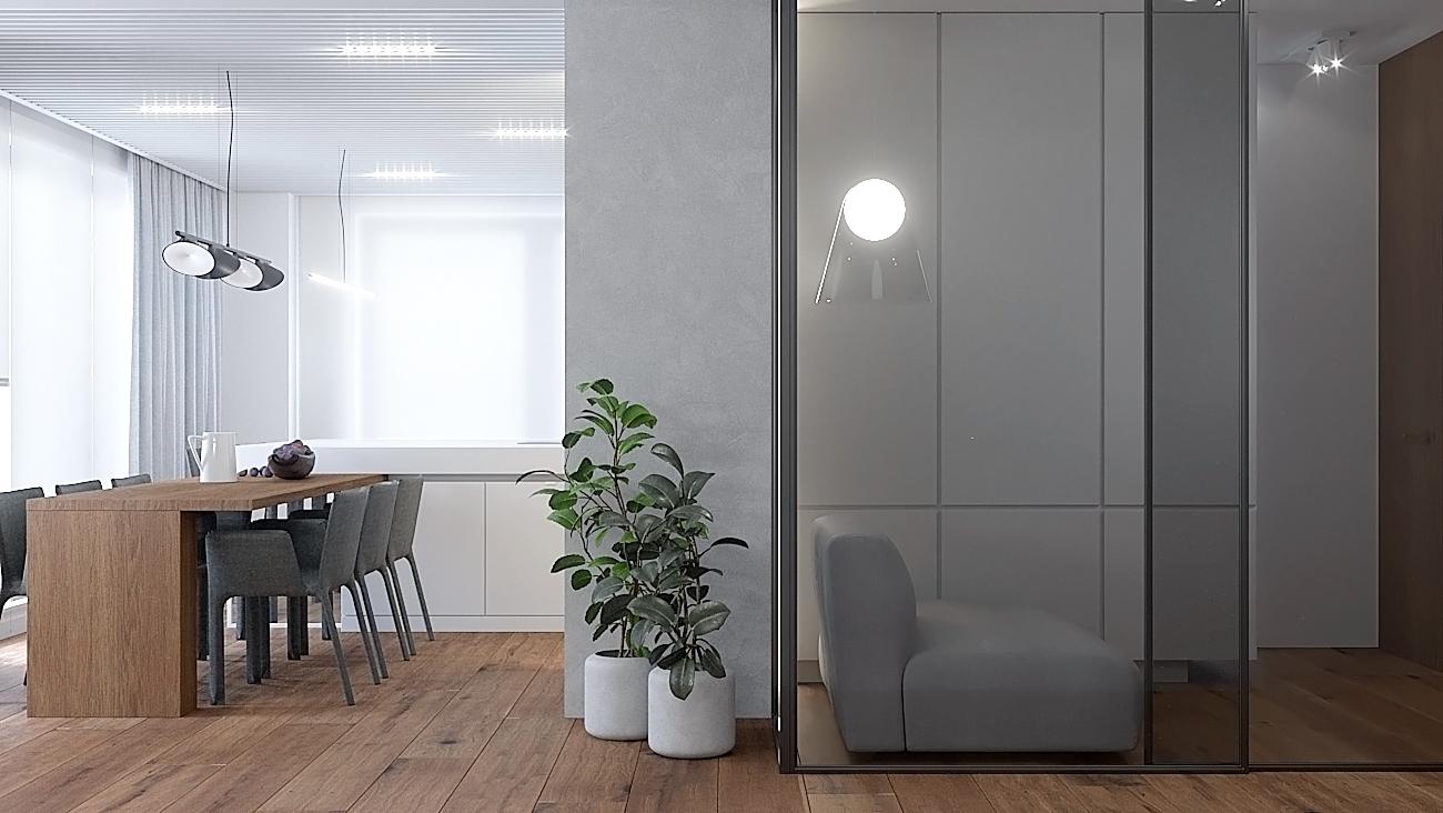 10 nowoczesny projekt wnetrza M541 mieszkanie katowice salon z jadalnia przeszklona sciana deska na podlodze duzy drewniany stol sufit z azurowym deskowaniem