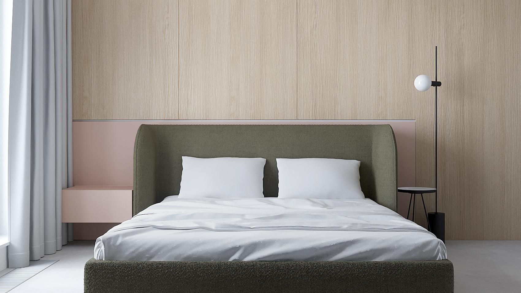 10 projket wnetrza M558 sypialnia tapicerowane lozko betonowa posadzka drewno na scianie