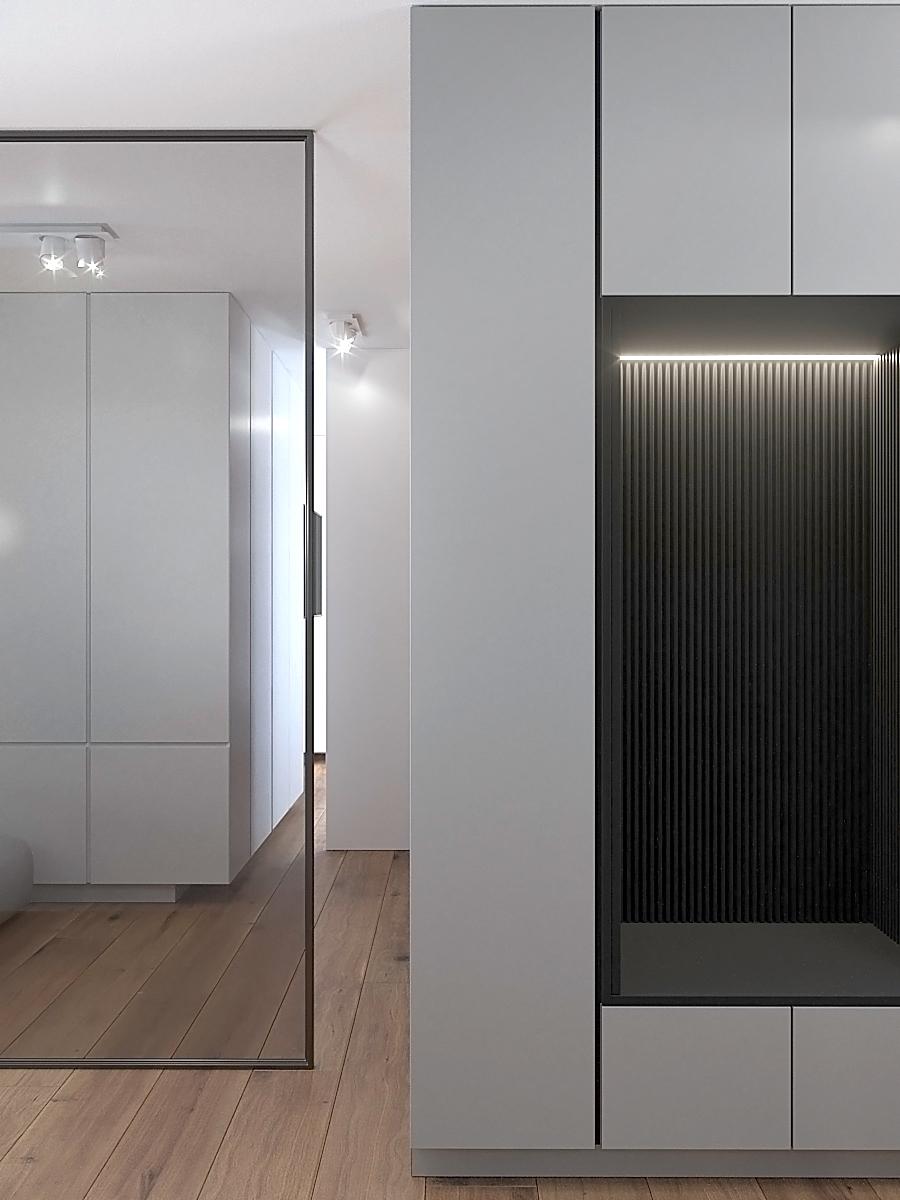 11 nowoczesny projekt wnetrza M541 mieszkanie katowice korytarz białe fronty szafy czarna wneka z siedziskiem przeszklona sciana