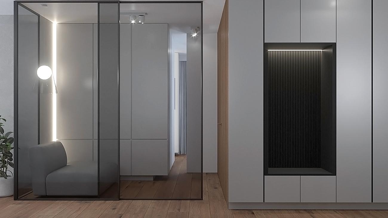 12 nowoczesny projekt wnetrza M541 mieszkanie katowice korytarz białe fronty szafy czarna wneka z siedziskiem przeszklona sciana