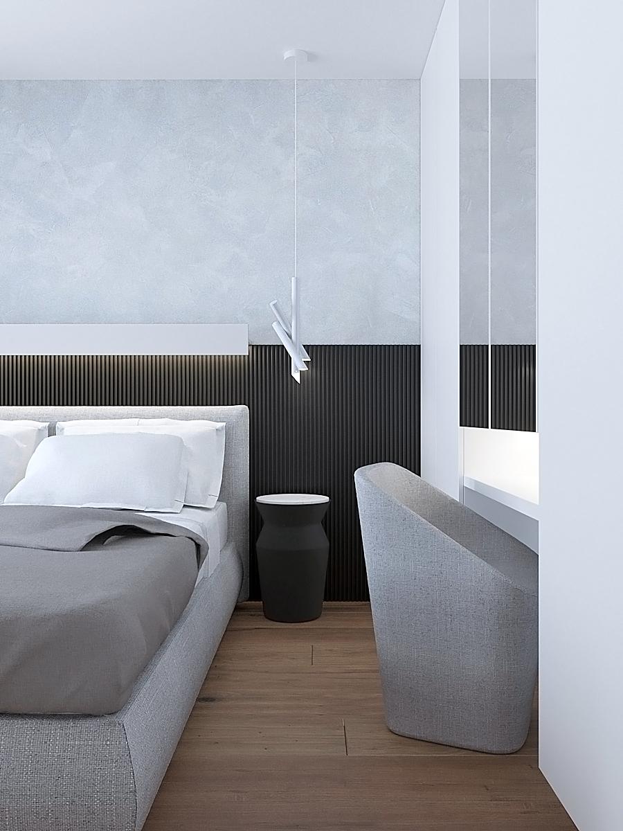 13 nowoczesny projekt wnetrza M541 mieszkanie katowice sypialnia czarne lamele na scianie za lozkiem szare tapicerowane lozko betonowa sciana toaletka w sypilani