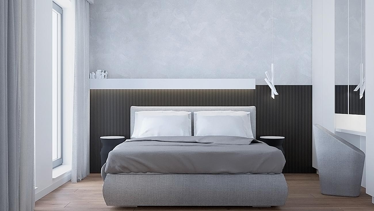 14 nowoczesny projekt wnetrza M541 mieszkanie katowice sypialnia czarne lamele na scianie za lozkiem szare tapicerowane lozko betonowa sciana toaletka z kubelkowym fotelem