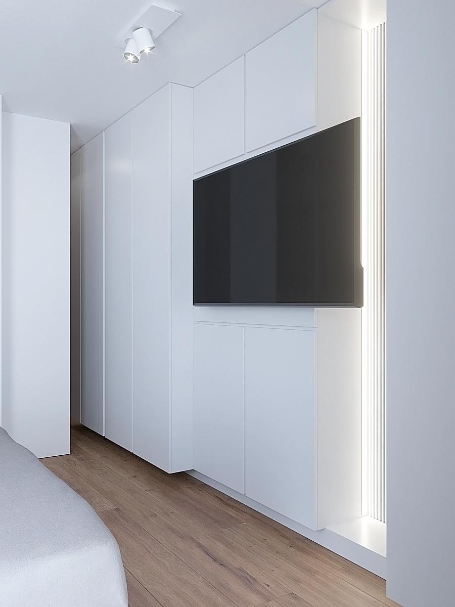15 nowoczesny projekt wnetrza M541 mieszkanie katowice sypialnia biale lamele wiszący telewizor biala plyta meblowa na scianie szafa garderobiana
