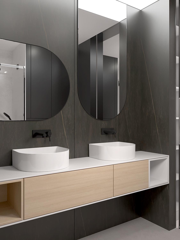 16 projket wnetrza M558 lazienka dwie umywalki spiek kwarcowy na scianie owalne lustro drewniana szafka umywalkowa