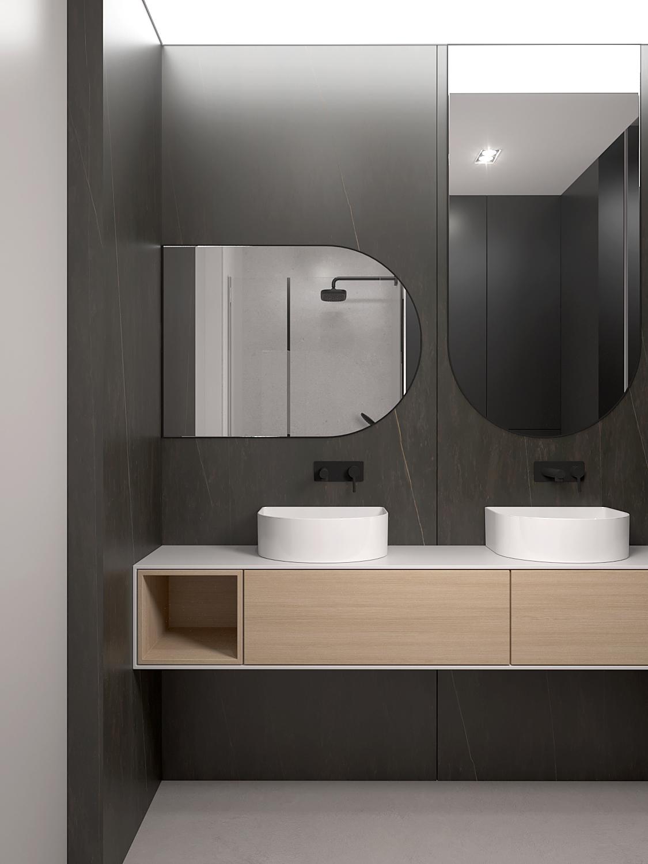 17 projket wnetrza M558 lazienka dwie umywalki dwa lustra lustro nietypowy ksztalt spiek na scianie