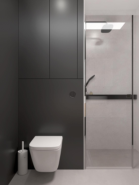 18 projket wnetrza M558 lazienka zanudowa stelaza prysznic we wnece betonowa posadzka