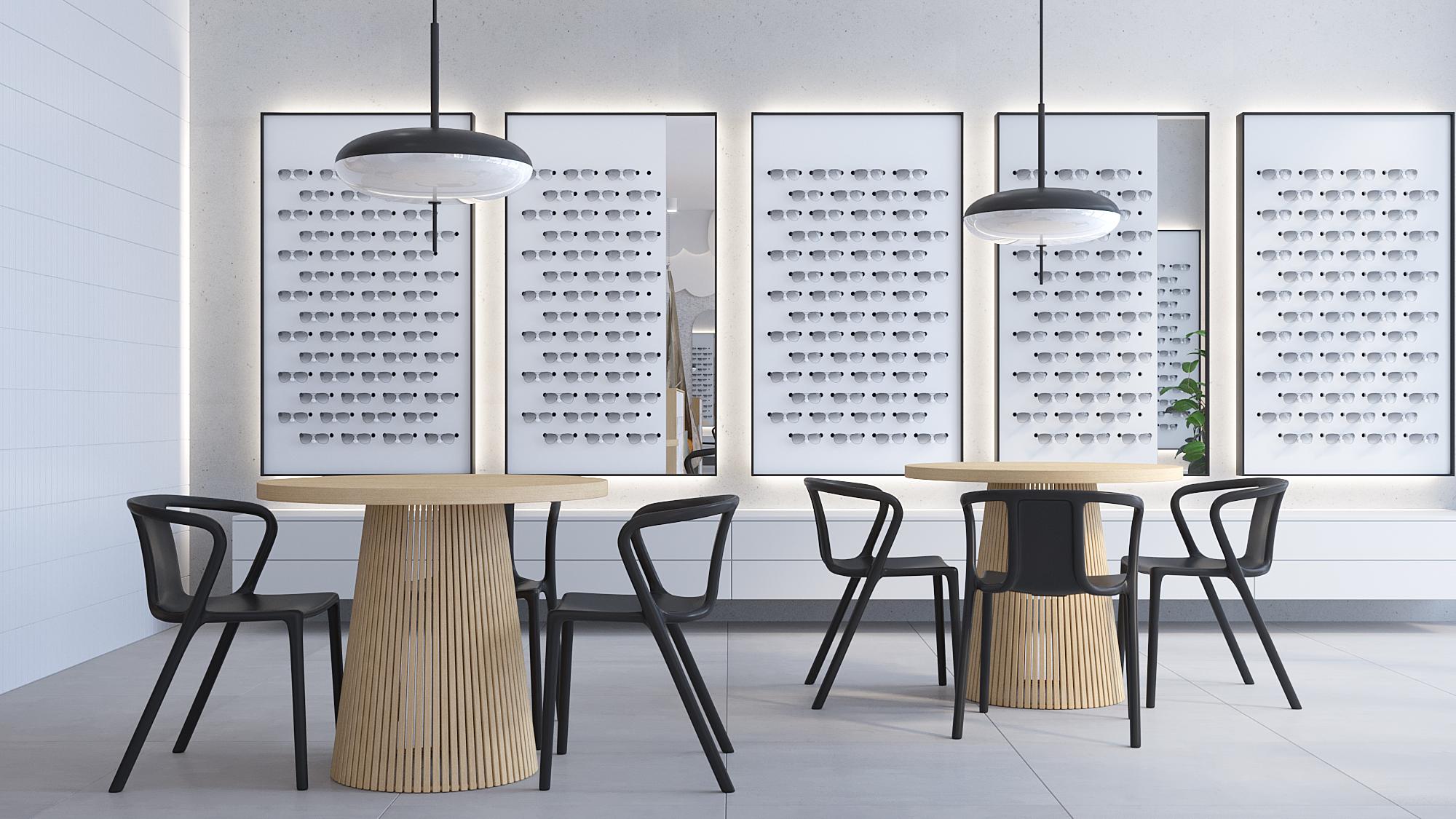 2 architekt wnetrz K099 optyk Strozik Bytom sala obslugi klienta ekspozytory na okulary czarne krzesla betonowe plytki