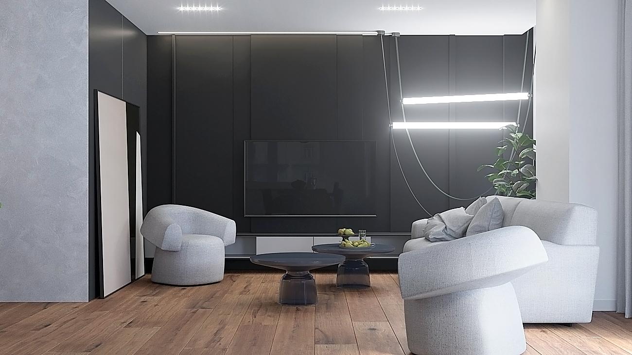 2 nowoczesny projekt wnetrza M541 mieszkanie katowice salon szklany stolik kawowy szara sofa szare zaslony czarna sciana telewizyjna