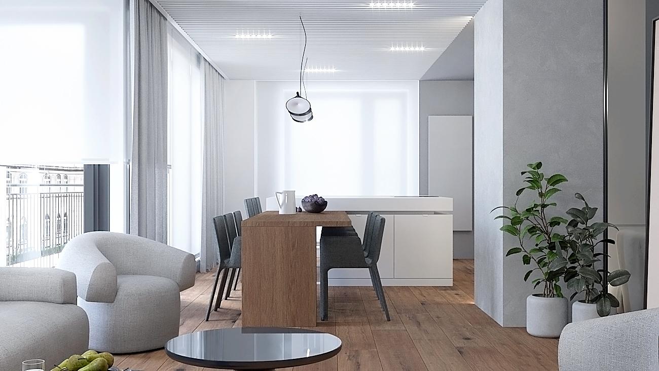 3 nowoczesny projekt wnetrza M541 mieszkanie katowice salon z jadalnia wygodny fotel deska na podlodze duzy drewniany stol sufit z azurowym deskowaniem