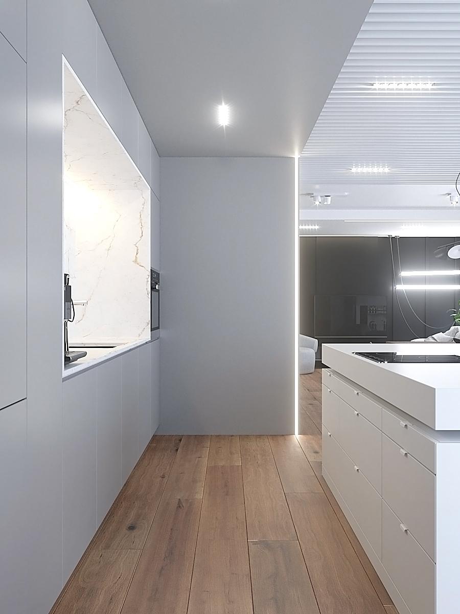 4 nowoczesny projekt wnetrza M541 mieszkanie katowice salon z kuchnia biala kuchnia kamienna wneka podwieszany zlew plyta na wyspie