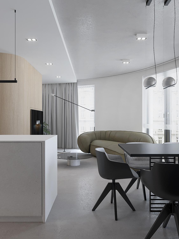 4 projket wnetrza M558 strefa dzienna czarny stol kubelkowe krzesla drewno na scianie zielona sofa betonowa posadzka