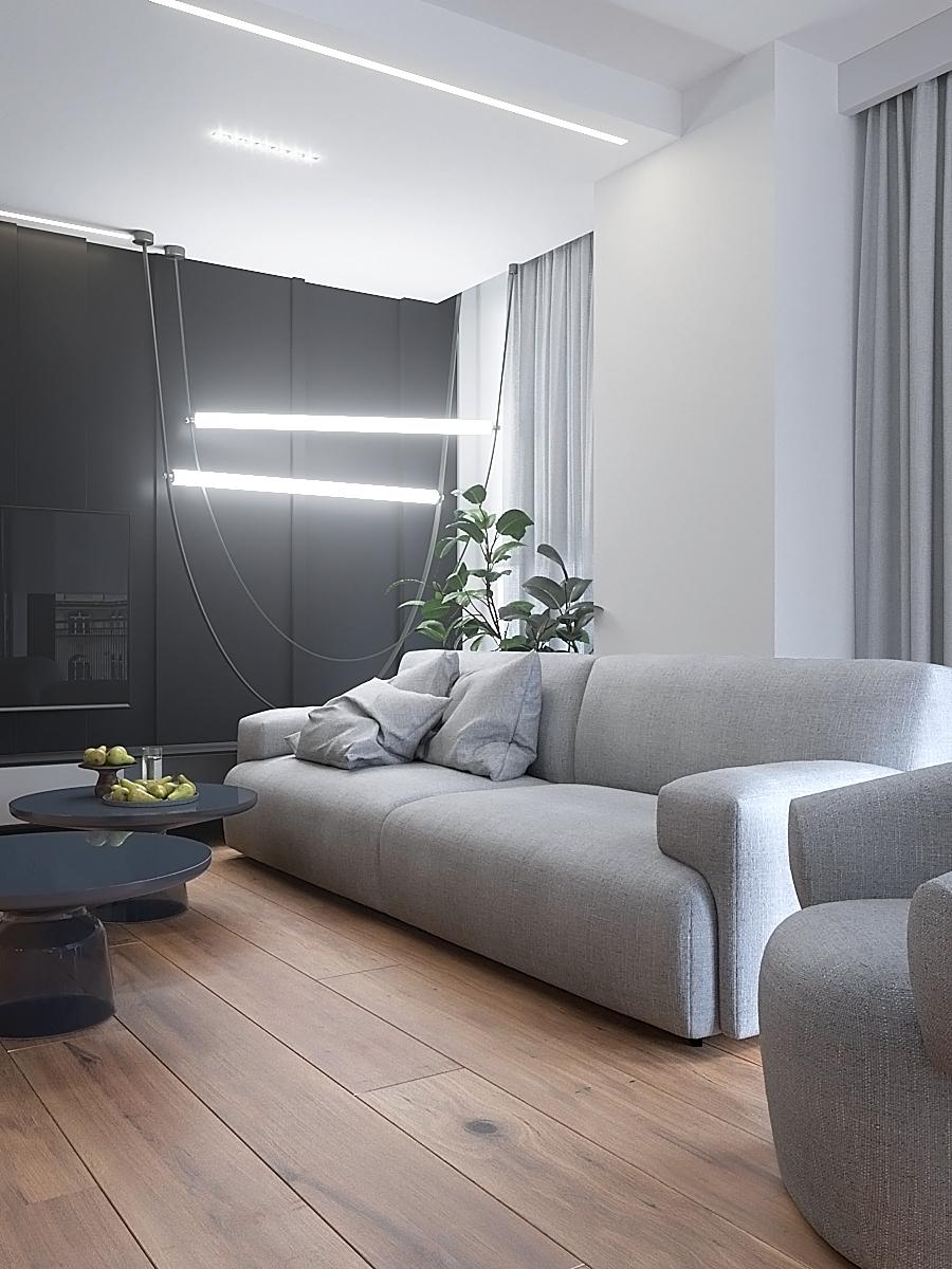 5 nowoczesny projekt wnetrza M541 mieszkanie katowice salon czarna plyta na scianie telewizyjnej szara sofa z fotelem szklane stoliki