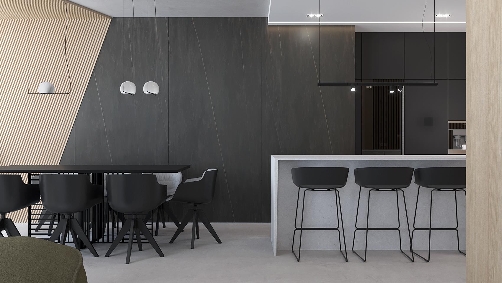 5 projket wnetrza M558 kuchnia z jadalnia czarne spieki kwarcowe lamele na scienie i suficie czarny stol biala wyspa kuchenna