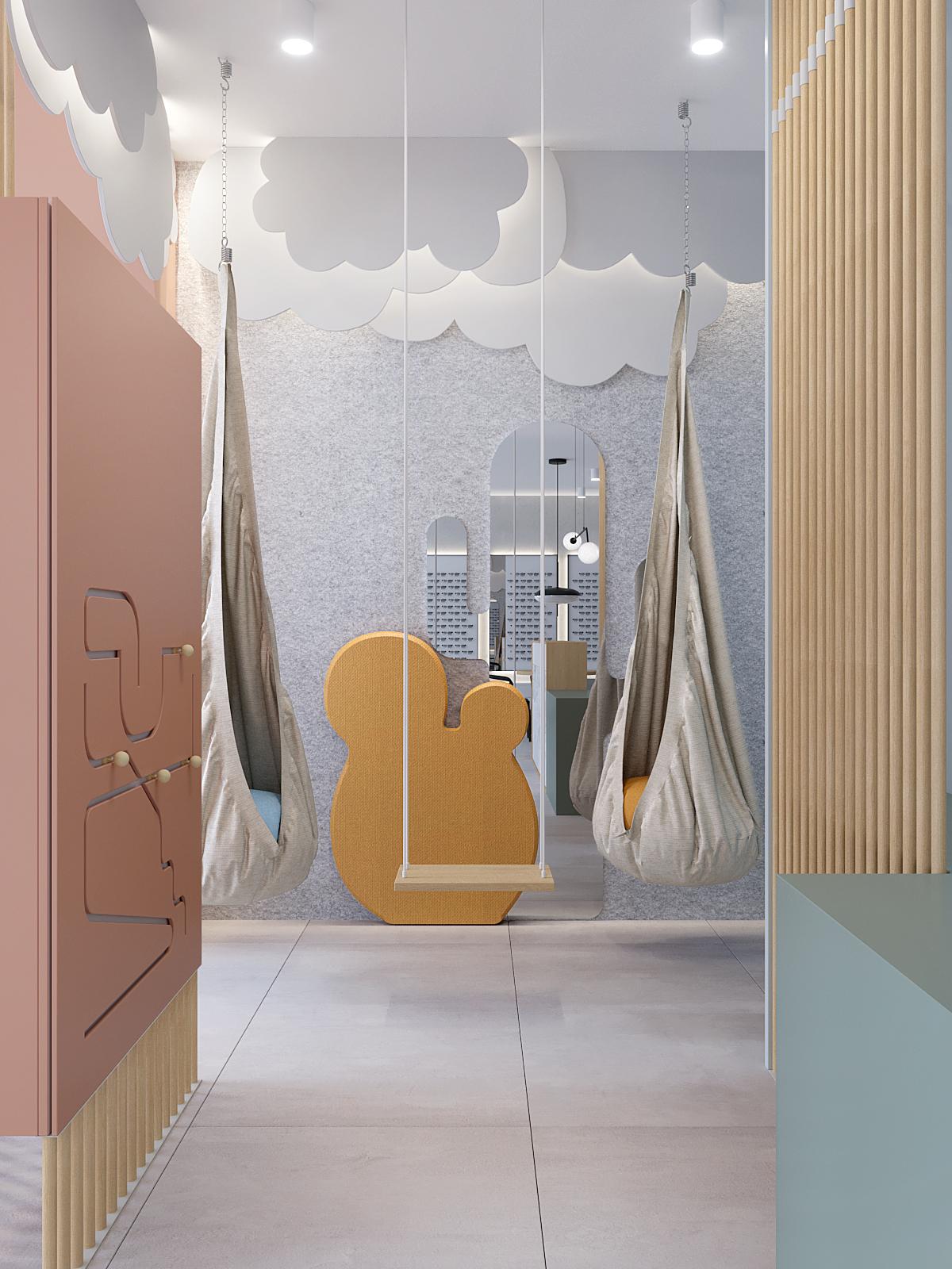 6 architekt wnetrz K099 optyk Strozik Bytom kacik dla dzieci dekoracyjne chmury na scianie hustwki materialowe rozowy akcent pionowe drewniane azury