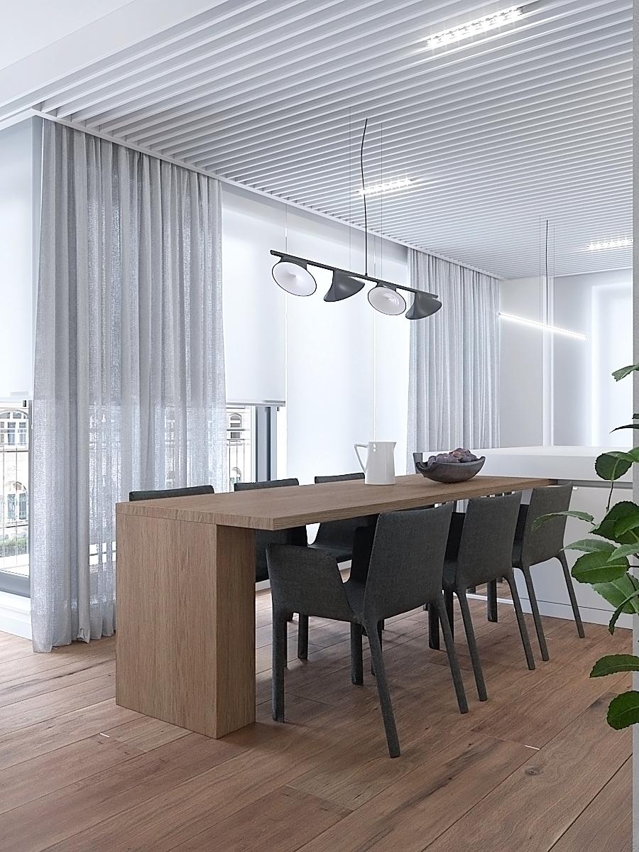 6 nowoczesny projekt wnetrza M541 mieszkanie katowice jadalnia z kuchnia drewniamy stol lampa nad stolem azurowy sufit grafitowe tapicerowane krzesla