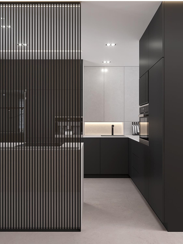 6 projket wnetrza M558 kuchnia czarne fronty bialy blat przegroda azurowa posadzka betonowa