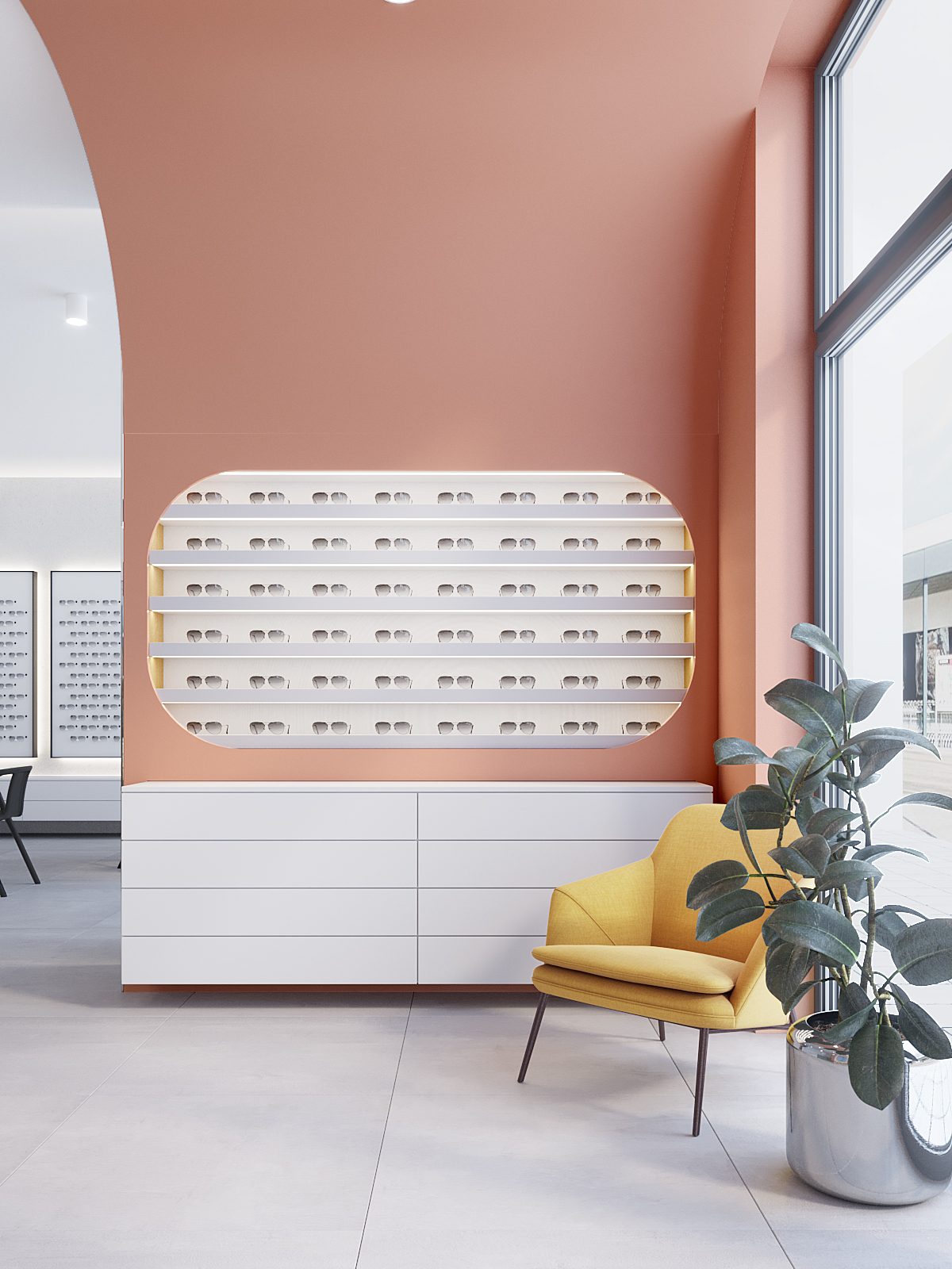 7 architekt wnetrz K099 optyk Strozik Bytom ekspozycja rozowy akcent na scienie zolty fotel biala komoda