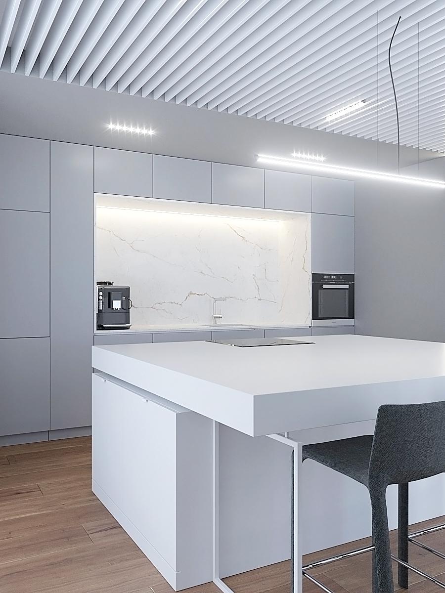 7 nowoczesny projekt wnetrza M541 mieszkanie katowice kuchnia wyspa z blatem na hokery biale fronty kuchenne azurowy sufit