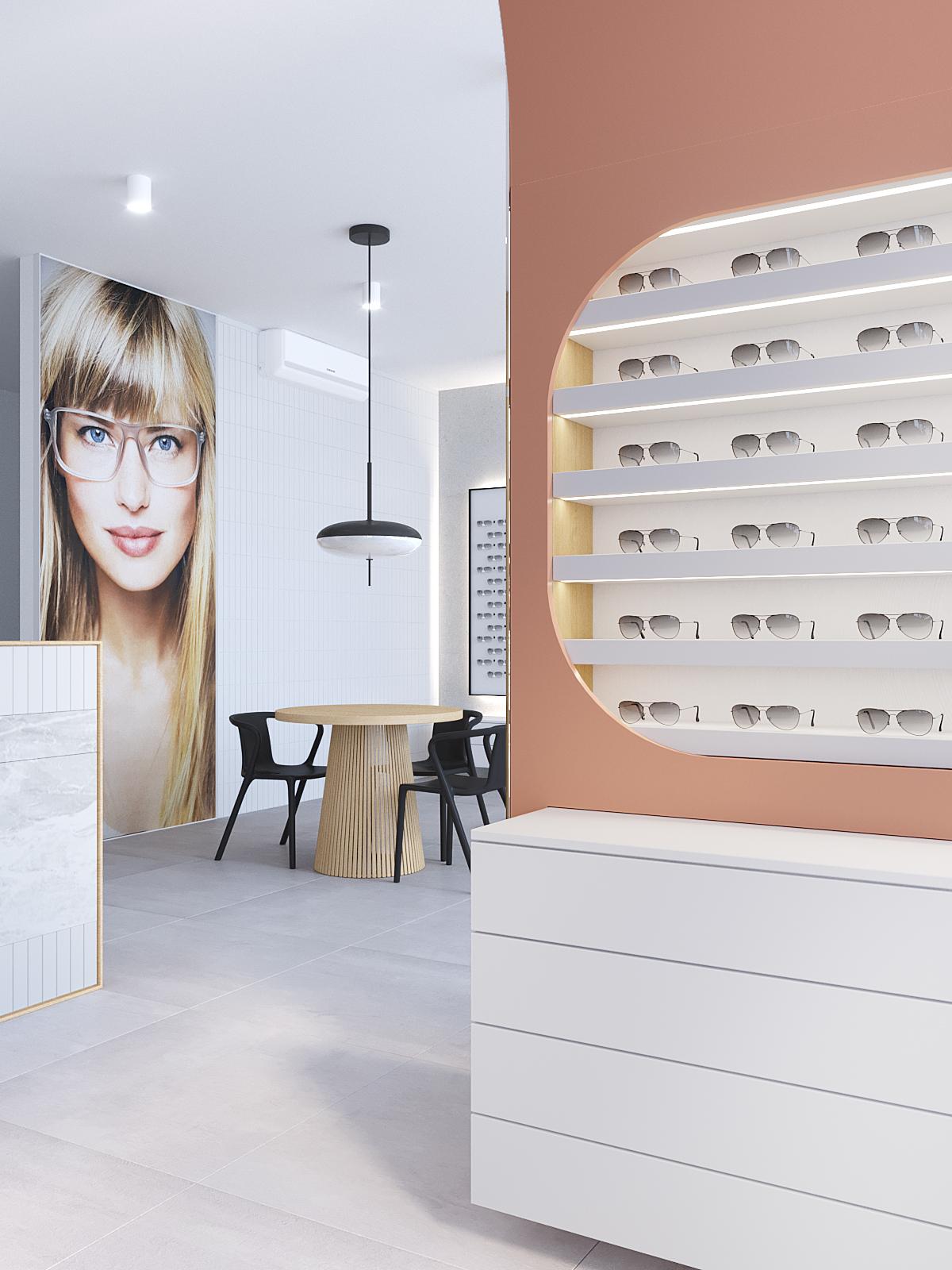 8 architekt wnetrz K099 optyk Strozik Bytom punkt bslugi klienta biala komoda ekspozytor na okulary drewniant stol