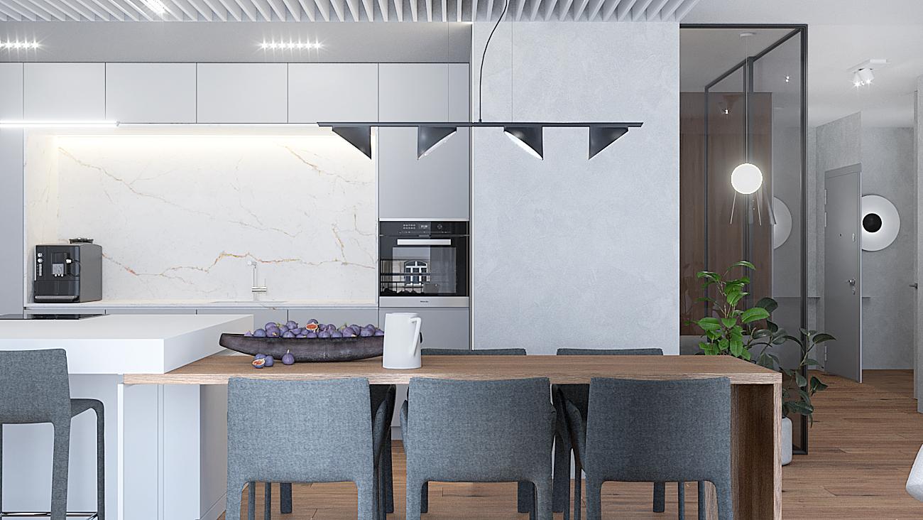 8 nowoczesny projekt wnetrza M541 mieszkanie katowice jadalnia z kuchnia drewniamy stol betonowa sciana azurowy sufit biala wyspa biale fornty w kuchni