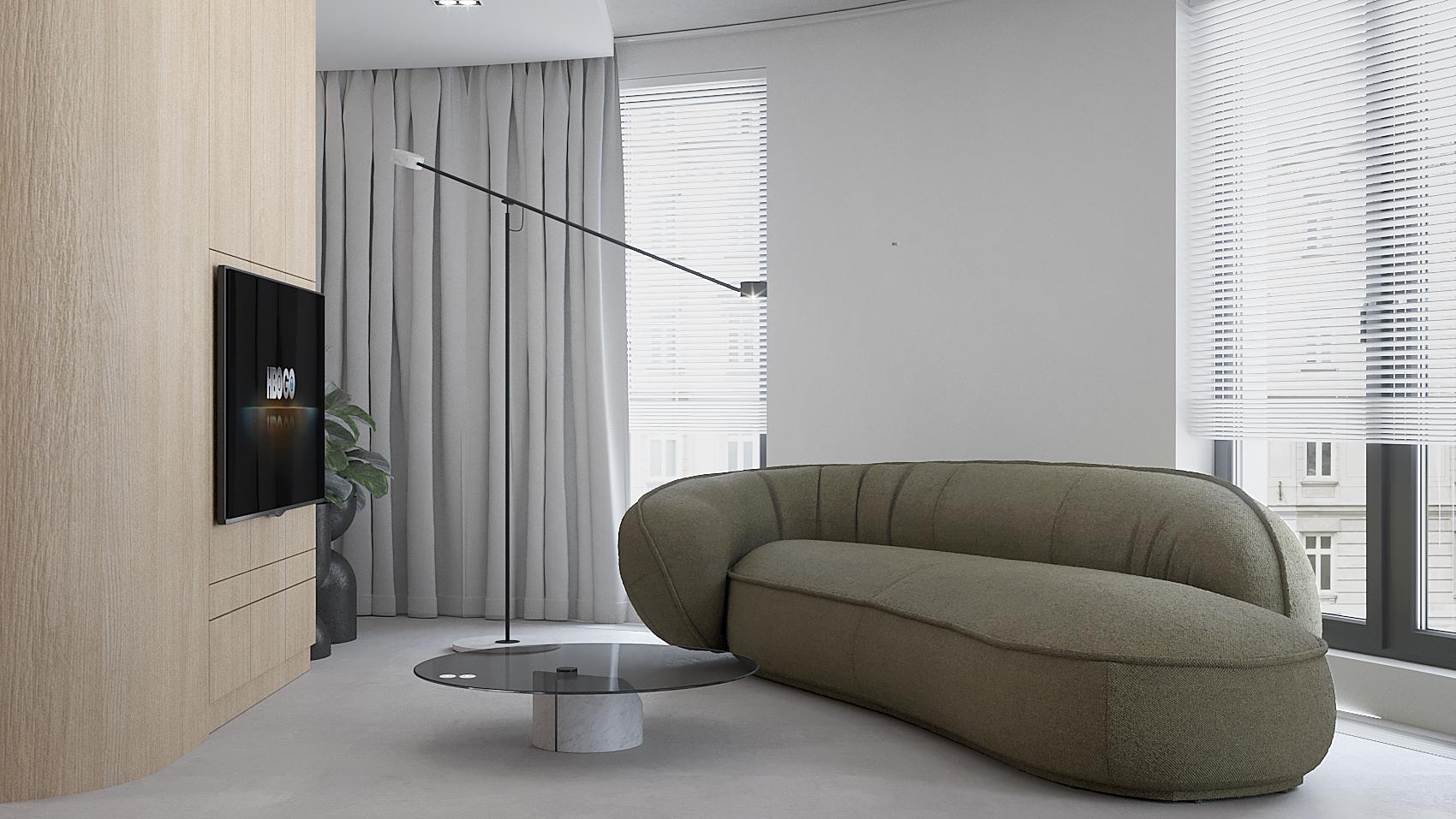 8 projket wnetrza M558 salon zielona sofa betonowa posadzka telewizor w zabudowie zaluzje w oknie