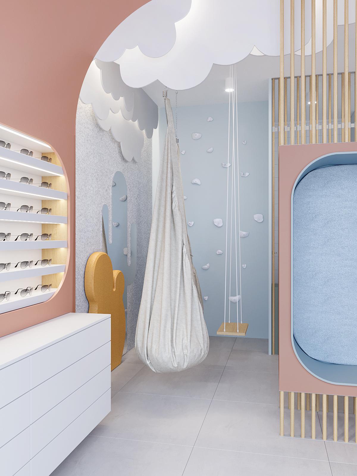 9 architekt wnetrz K099 optyk Strozik Bytom kacik dla dzieci dekoracyjne chmury na suficie siedzisko tapicerowane hustwka zolty kaktus na scianie