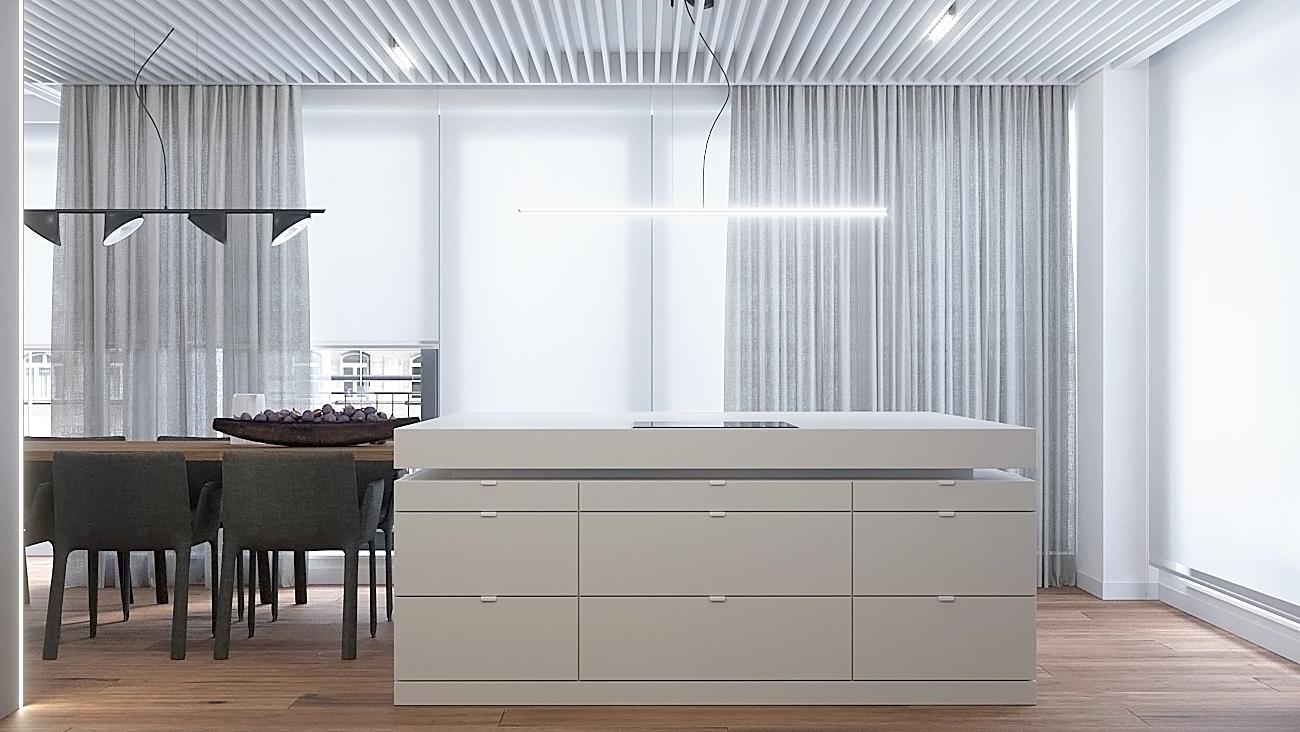 9 nowoczesny projekt wnetrza M541 mieszkanie katowice salon wyspa plyta indukcyjna drewniana podloga azurowe panele na suficie