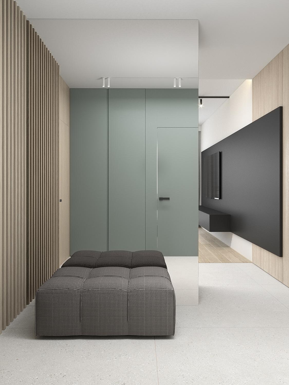 1 aranzacja wnetrz M523 mieszkanie Chorzow korytarz lustrzana sciana pufa w krate lamele na scianie szare plytki