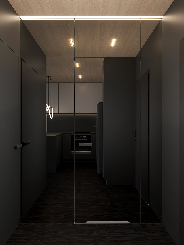 1 aranzacja wnetrz M598 mieszkanie Krakow wejscie lustrzana sciane lustro na drzwiach