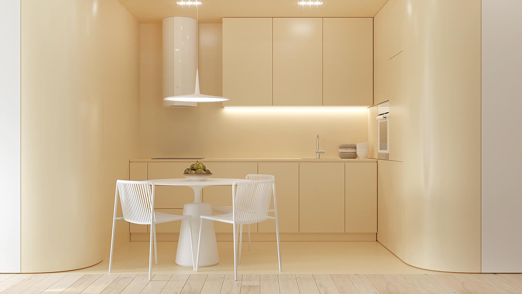1 aranzowanie wnetrz M378 mieszkanie Katowice kuchnia zlota zabudowa zlote sciany okragly stol z bialymi krzeslami