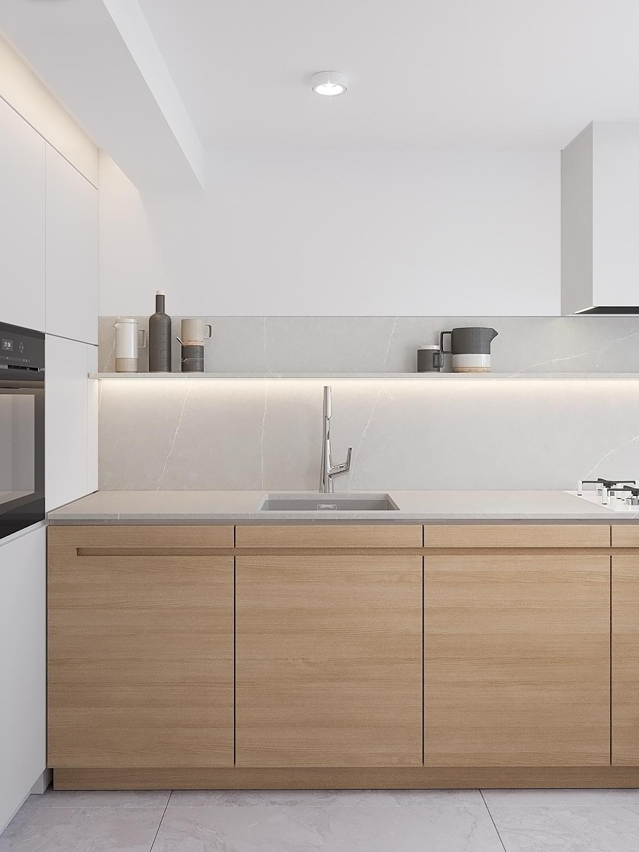 1 projekty wnetrz D495 dom Krakow kuchnia drewniane fronty szary blat polka nad blatem kuchnia bez szafek wiszacych