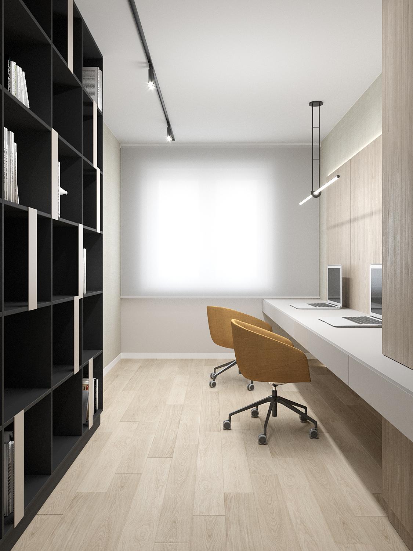 10 aranzacja wnetrz M523 mieszkanie Chorzow gabinet regal na ksiazki drewno na podlodze duzy blat biurka
