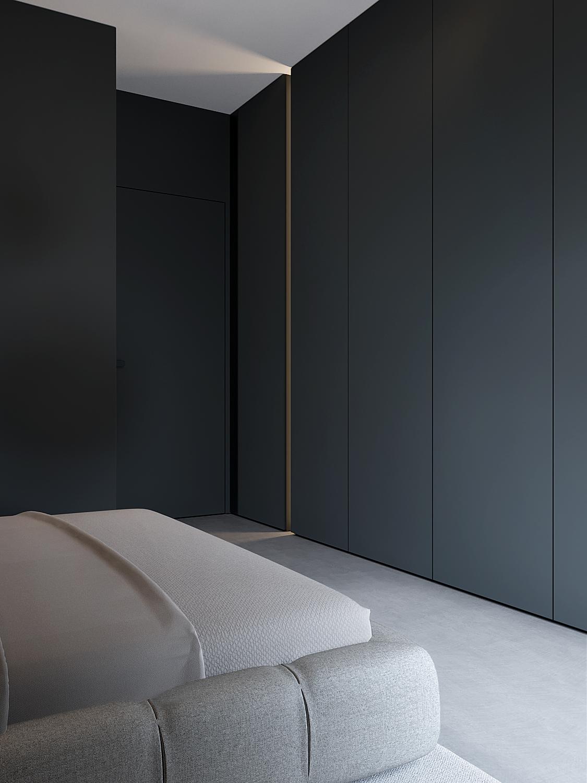 10 aranzacja wnetrz M598 mieszkanie Krakow zabudowa w sypialni podswietlana wneka betonowa posadzka