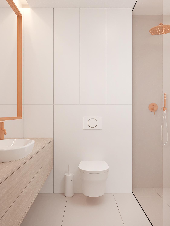 10 aranzowanie wnetrz M378 mieszkanie Katowice lazienka beterie pomaranczowe lustro wpomaranczowej ramie drewniana szafka lazienkowa