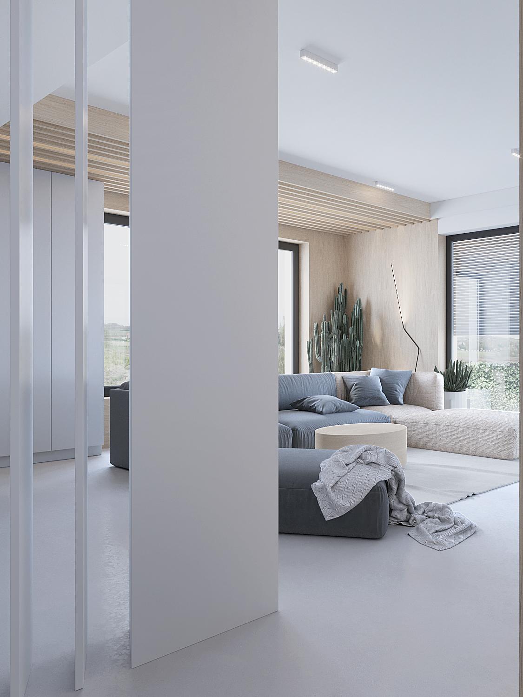 10 projektowanie wnetrz D557 dom Bibice salon lamele na suficie podswietlenie ledowe duza grafitowa sofa
