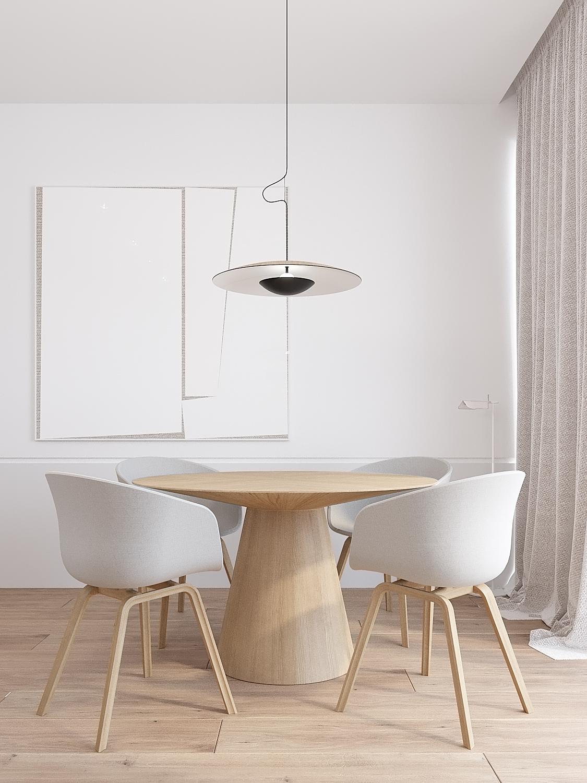 10 projekty wnetrz D495 dom Krakow jadalnia okragly drewniany stol stol na jednej nodze lampa nad stolem obraz abstrakcja