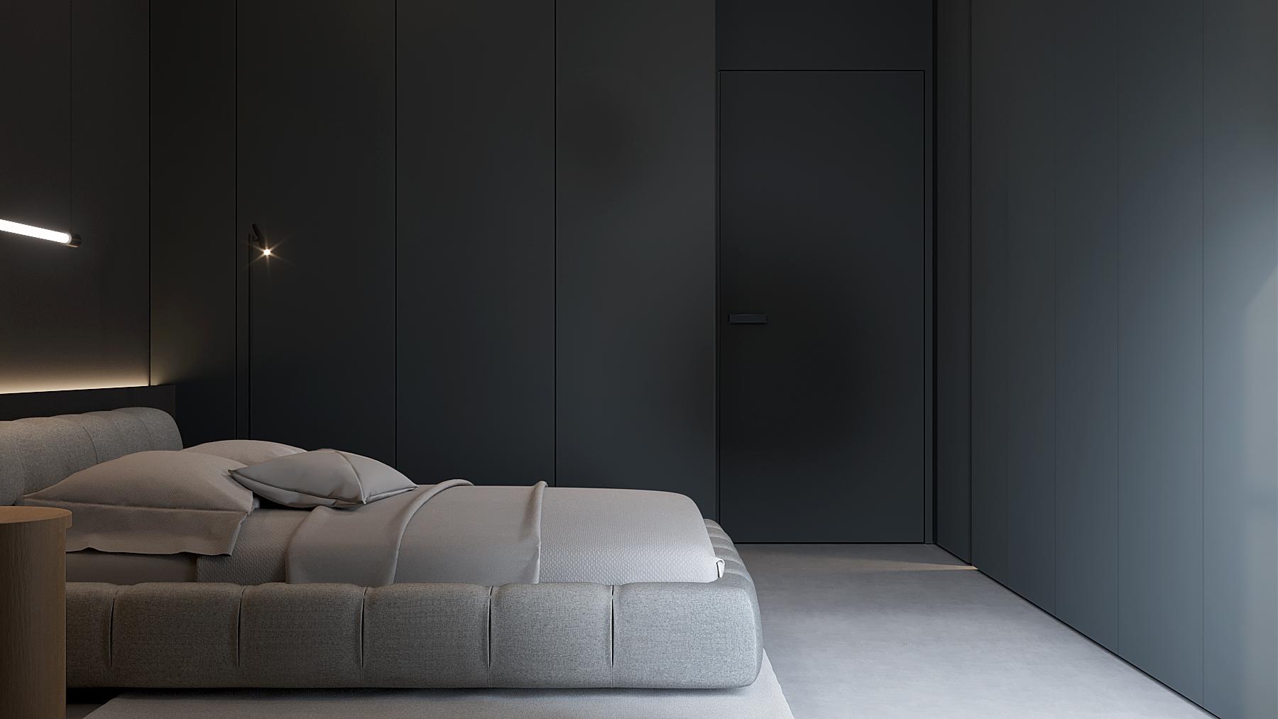 11 aranzacja wnetrz M598 mieszkanie Krakow sypialnia szare lozko betonowa posadzka zabudowa meblowa czarna