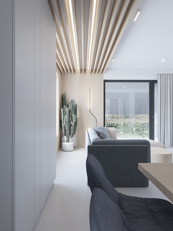 11 projektowanie wnetrz D557 dom Bibice salon zabudowa meblowa duza sofa zywica na podlodze drewno na suficie