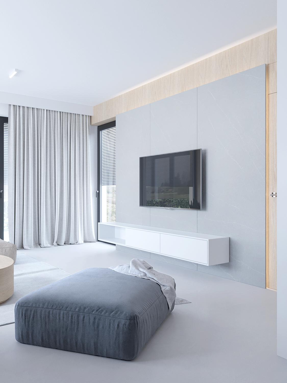 12 projektowanie wnetrz D557 dom Bibice salon zywica na posadzce sciana telewizyjna duza szara pufa drewno na scianie