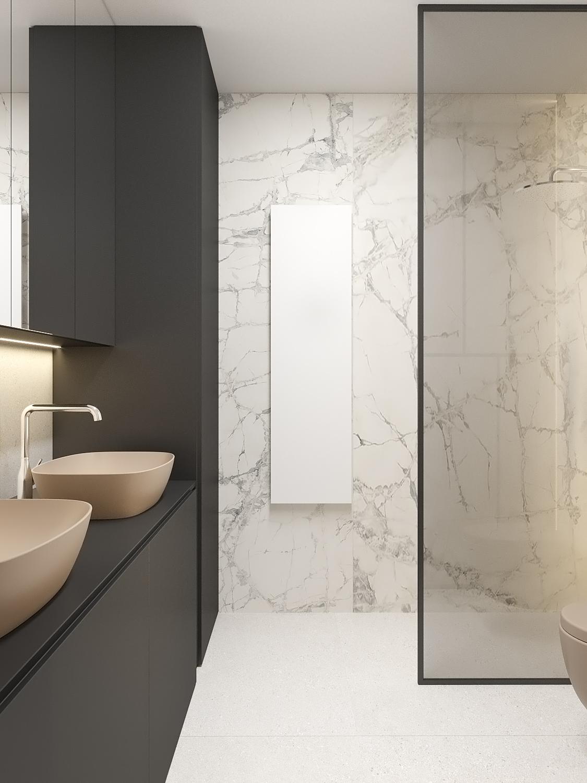 13 aranzacja wnetrz M523 mieszkanie Chorzow lazienka dwie umywalki umywalki kolorowe czarne przeszklenie kamienna plytka pod prysznicem duza szafka umywalkowa