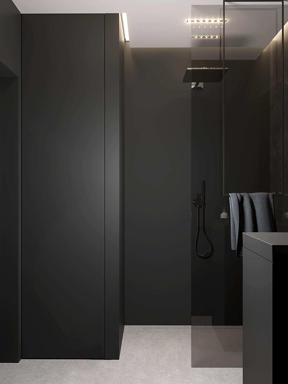 13 aranzacja wnetrz M598 mieszkanie Krakow lazienka prysznic walk in czarne plytki beton na podlodze wieszak na recznik