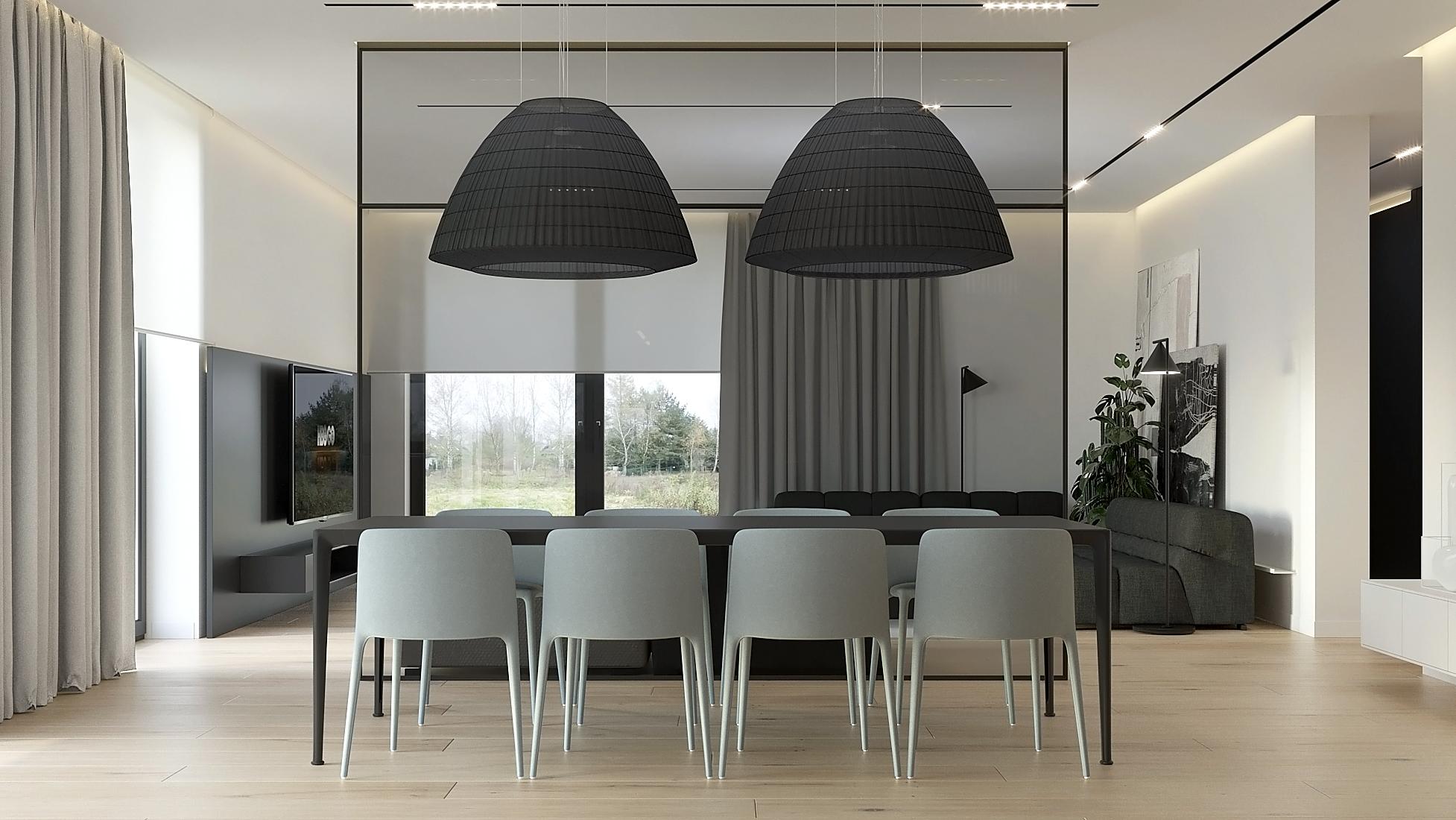 13 projket wnetrz D555 dom Libertow jadalnia duzy stol szare krzesla lampy na stolem czarne abazury
