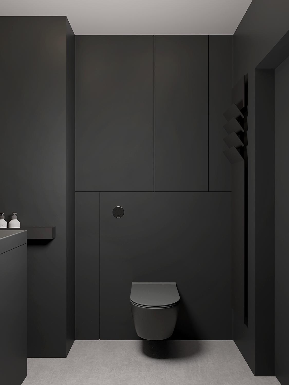 14 aranzacja wnetrz M598 mieszkanie Krakow lazienka czarna zabudowa meblowa czarna miska wc