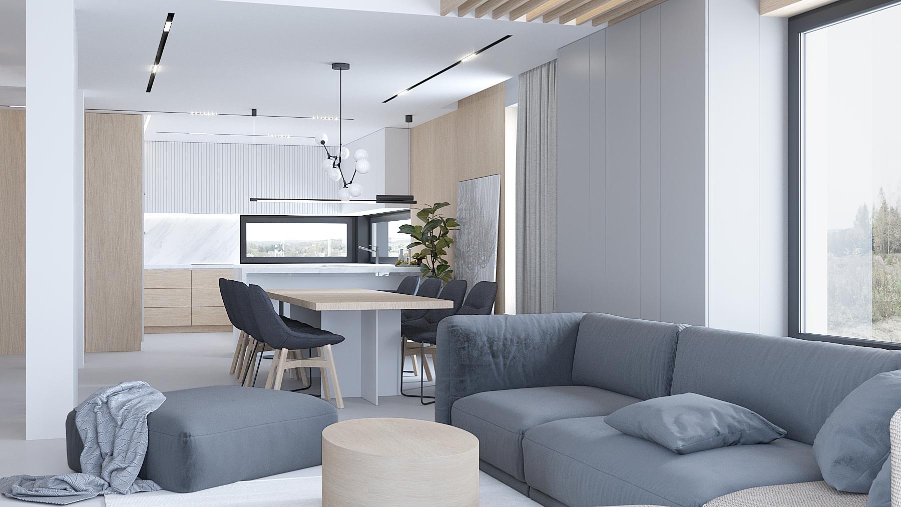 14 projektowanie wnetrz D557 dom Bibice salon jadalnia duzy stol okragly stolik kawowy zabudowa meblowa w salonie