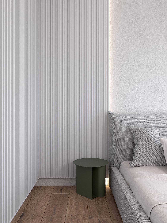 14 projekty wnetrz D495 dom Krakow sypialnia stolik kawowy zielony szare lozko lamele na scianie podswietlenie led