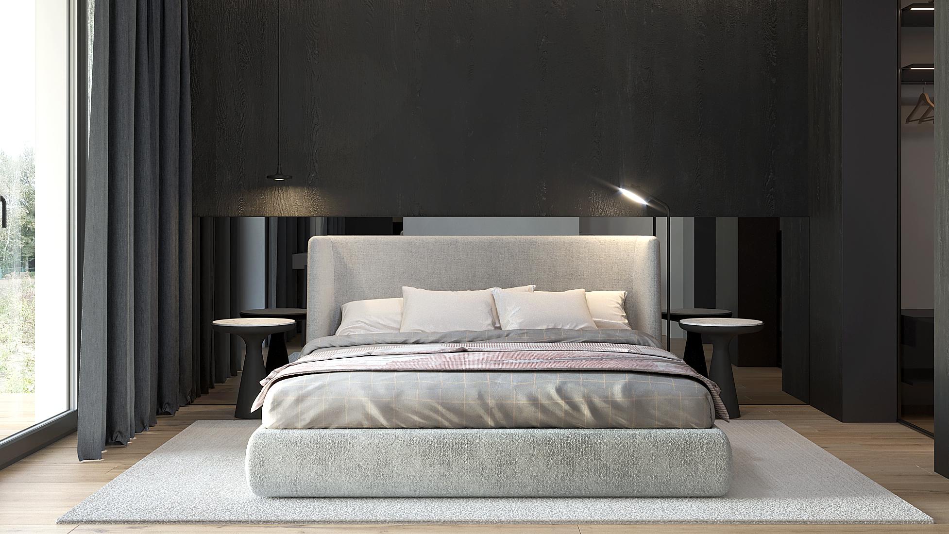 14 projket wnetrz D555 dom Libertow sypialnia lustrzany zaglowek szare tapicerowane lozko okragle stoliki nocne czarna tapeta