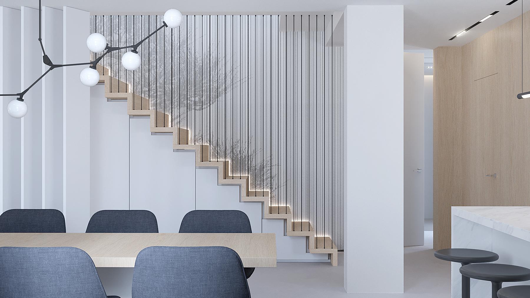 15 projektowanie wnetrz D557 dom Bibice klatka schodowa schody dwyanowe czarna balustrada tapeta na scianie