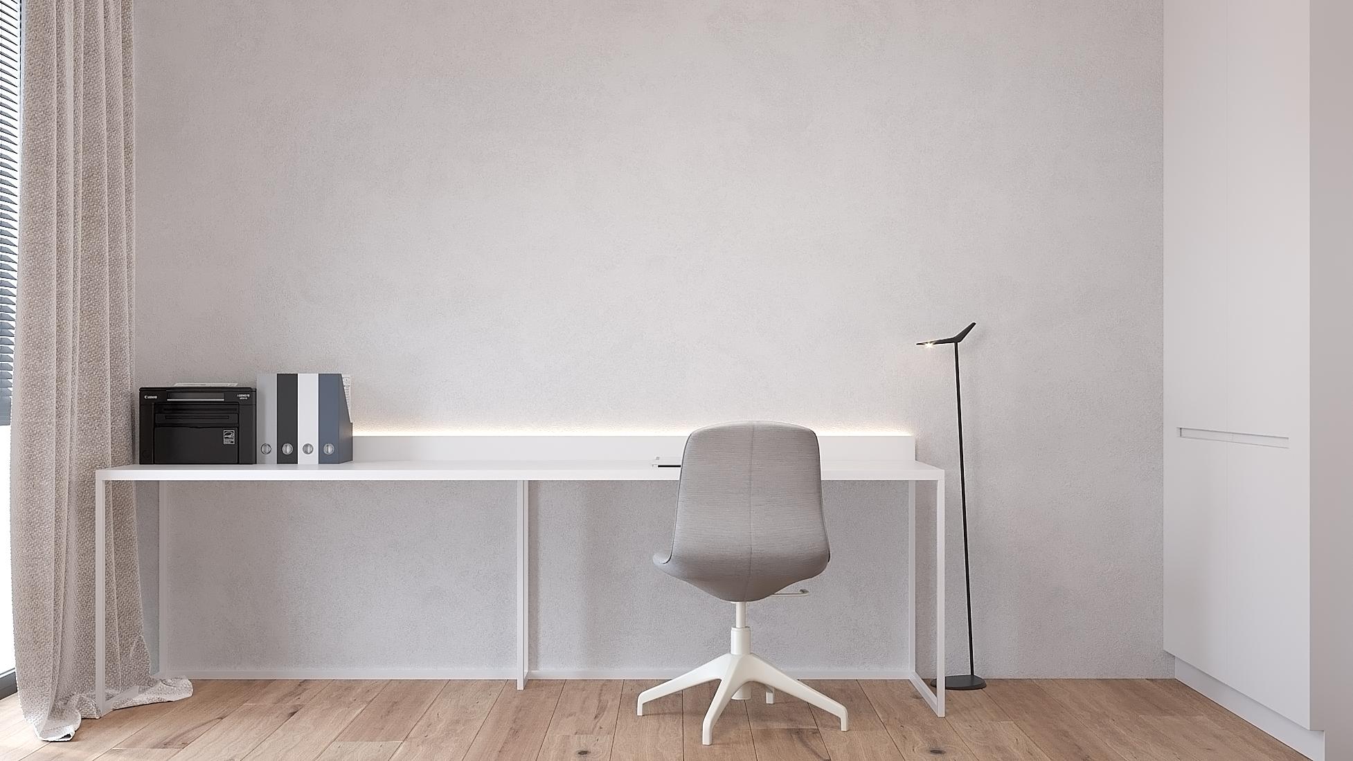 15 projekty wnetrz D495 dom Krakow gabinet biurko na stelazu matalowym drewniana podloga