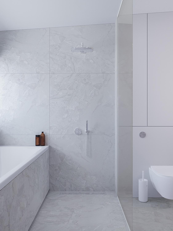 16 projekty wnetrz D495 dom Krakow lazienka prysznic z wanna sare duze plytki szyba walk in zabudowa stelaza
