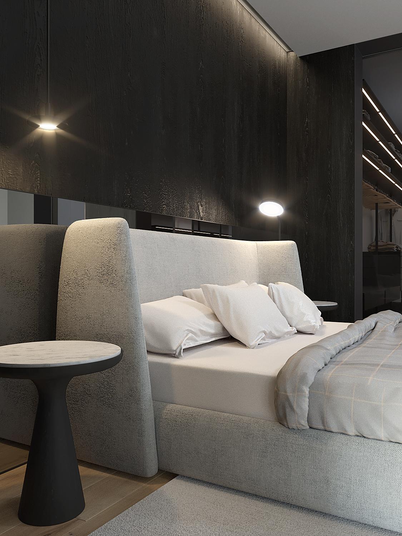 16 projket wnetrz D555 dom Libertow sypialnia tapicerowane lozko szklane drzwi do garderoby